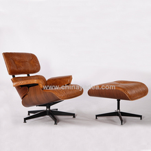 Walnut/Palisander/oak genuine Leather charles emes lounge chair with ottoman