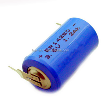 ER14250 with tabs 3.6v 1200mAh 1/2aa size lithium battery