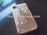 Peacock Design 100% Real Natural Human Carved Dandelion Maple Wood Wooden Case Cover For iphone 4 4S