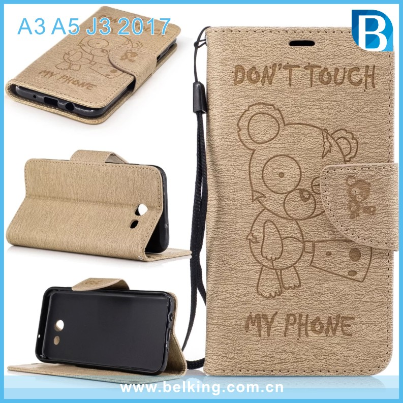 Bear Cover Flip Wallet Card Slots PU Leather Case For Samsung A3 A5 J3 2017