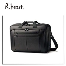 15 inch Classics Timeproof Black Business Laptop Computer Bag Hanging On Suitcase
