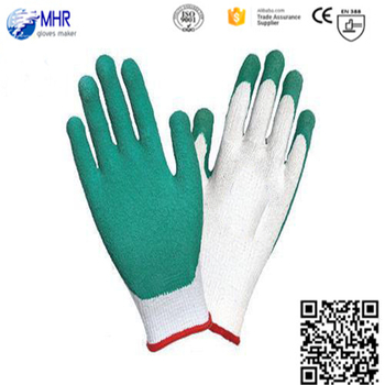 13 gauge White nylon coated green latex glove,working glove,