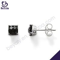 Black square obsidian shiny handmade silver diy earrings