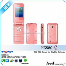 flip used sim card phones for sales 2.4inch screen GSM850/900/1800/1900 dual sim card colorful cheap cellular H3580