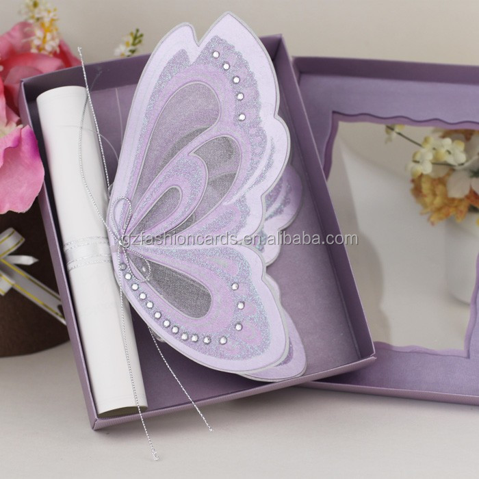 Purple Make Scroll Butterfly Shape Wedding Invitations