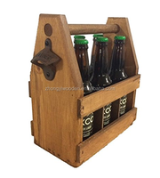 china factory BSCI Wooden bar six pack beer caddy carrier tote holder with opener