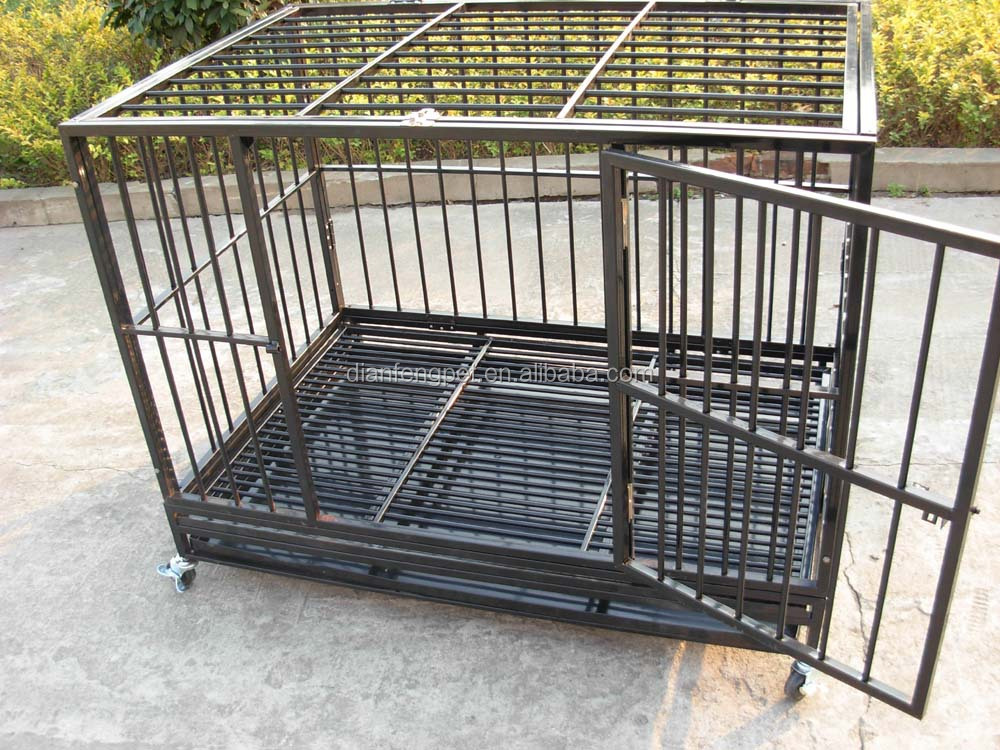 2 doors deluxe folding iron square tube heavy duty dog crate