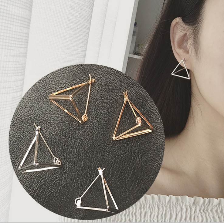 Korean simple creative <strong>jewelry</strong>, triangular earrings, geometric triangle hollow earrings