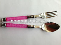 NEWEST!!! SS18-8 spoon and fork set with Plastic handle