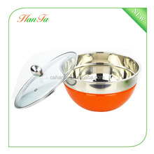 3pcs set colorful stainless steel deep mixing bowl with glass lid
