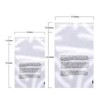 clear poly bag with suffocation warning - 6x9, 8x10, 9x12, 11x14 - Self adhesive seal