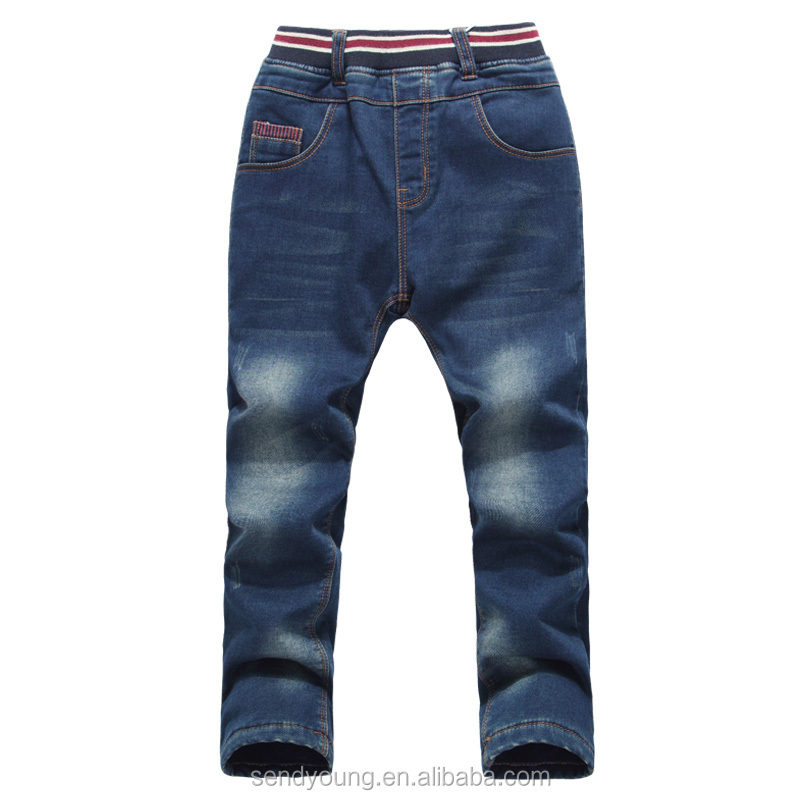 comfortable mid blue kids boys and girls denim elastane waistband jeans printed pattern kids jeans
