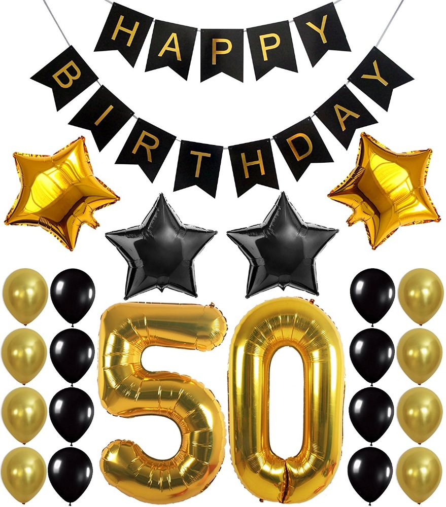 Black Gold Bunting banner Flag Latex Foil Balloon Party Decoration 50th Happy Birthday Balloon Banner
