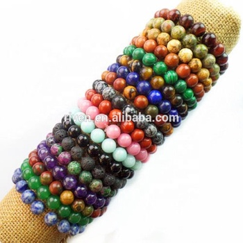 SN0002 Summer cool jewelry Mix Color Stock Sale Agate Stone Turquoise tiger eye handmade Stretch stone bracelet