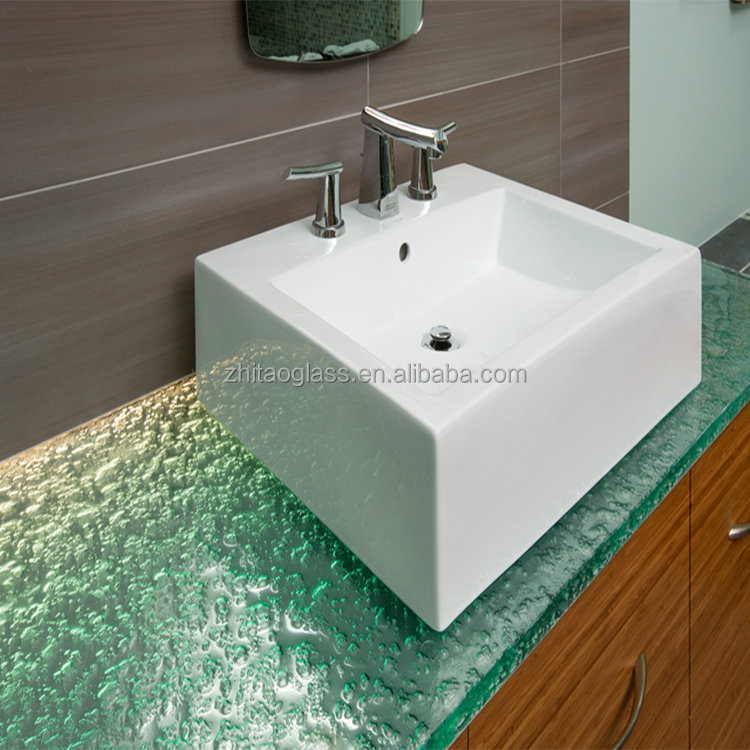 2017 most popular design bathroom glass table top
