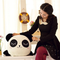 emoji face panda with bow tie plush toy for promotion stuffed animals