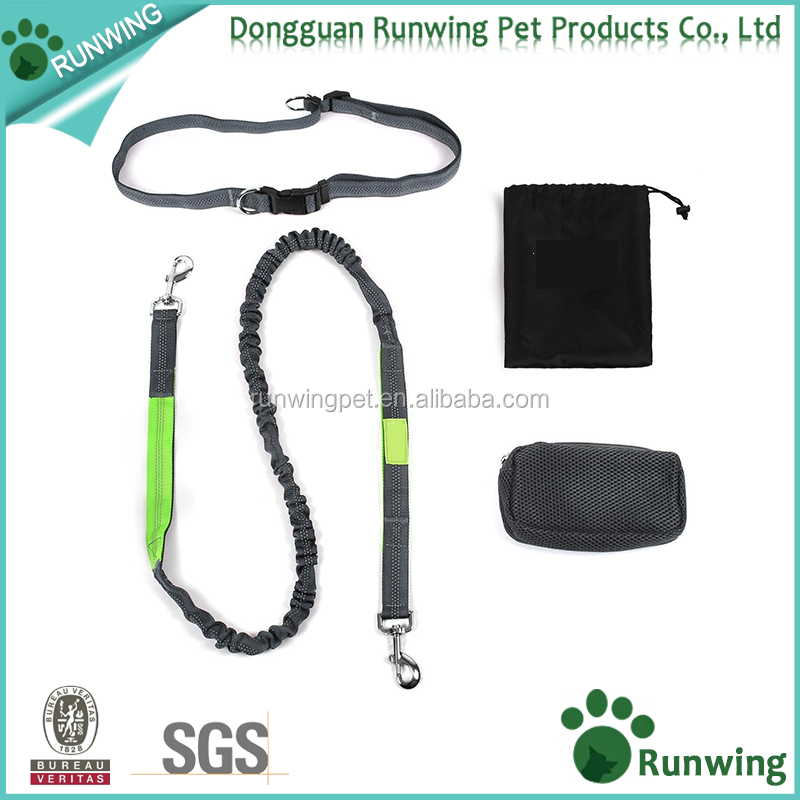 Extendable Bungee Reflective Stitching Hands Free Dog running Leash with Zipper Pouch