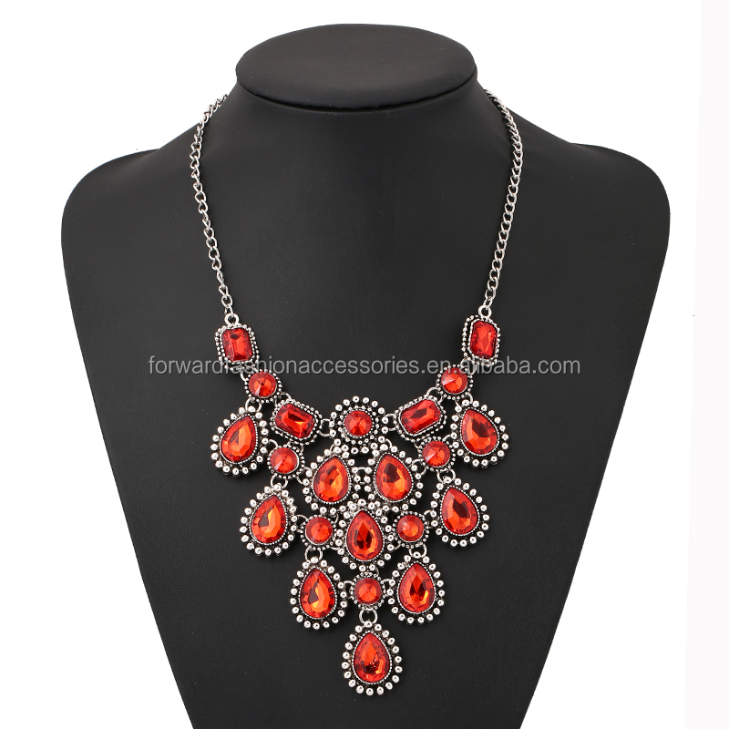 Fine Jewelry lady Banquet Imitated Gemstone Inlaid Tassel Crystal Choker Necklaces