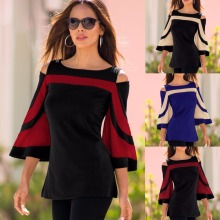 Latest fashion design cold shoulder tunic Bell Sleeves Top