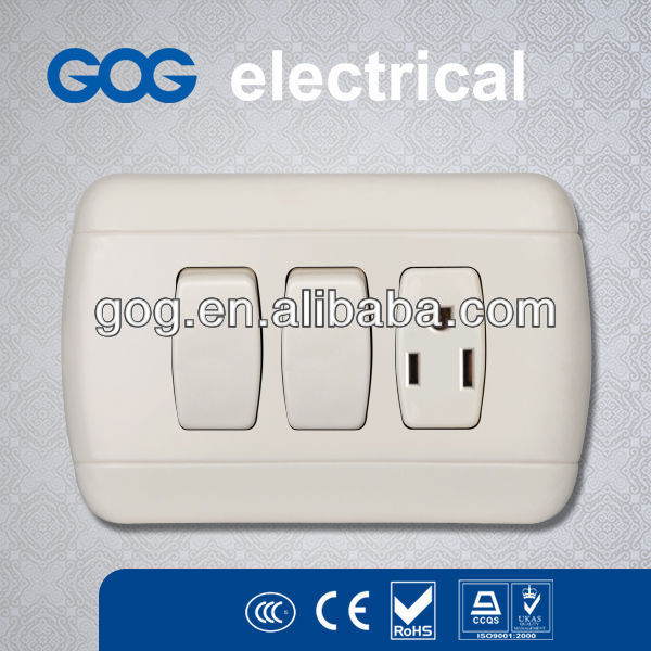 2 Gang Switch and 15A USA Socket Outlet