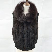 hot sale women 100% real korean style natural knitted fur gilet vest long mink waistcoat from china