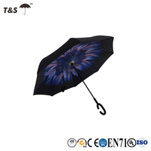 Tianshuo custom reverse UV umbrella specialized production sunshade wholesale double layer handle parasol umbrella inverted
