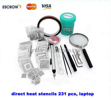 Notebook Direct Heat Stencils For Laptop 231 pcs + solder balls, flux, scraper, brush, tweezer, BGA reballing kit