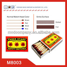 three stars wooden household safety match