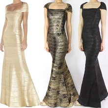 2015 new arrival high quality gold foil boat neck long maxi bandage gown celebrity dress wholesale black /black and gold