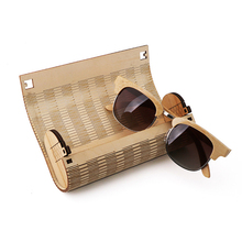 Wholesale custom logo bamboo sunglasses 100% bamboo sunglasses logo box