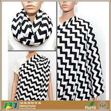 Black and White Chevron Infinity 100% Jersey Cotton Nursing Breastfeeding Scarf