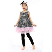 Baby Dress Pattern Cotton Clothing Sets Western Girls Outfits with Black Pant
