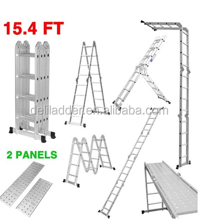 Finether 15.4 FT SGS/EN131 Heavy Duty Multi-Purpose Extendable Aluminum Folding Ladder with Safety Locking Hinges and 2 Panels,