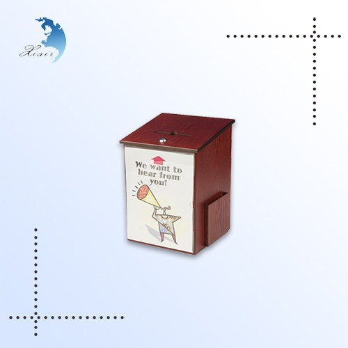 Wall mounted custom printed cherry wooden suggestion box with lock