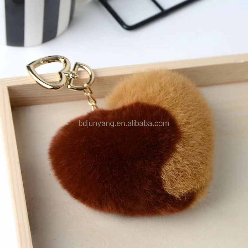 real rex tabbit fur heart shaped fur keychain valentines day gift