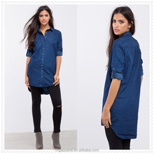 wholesale cheap long sleeves 100% cotton twill women denim shirt tunic