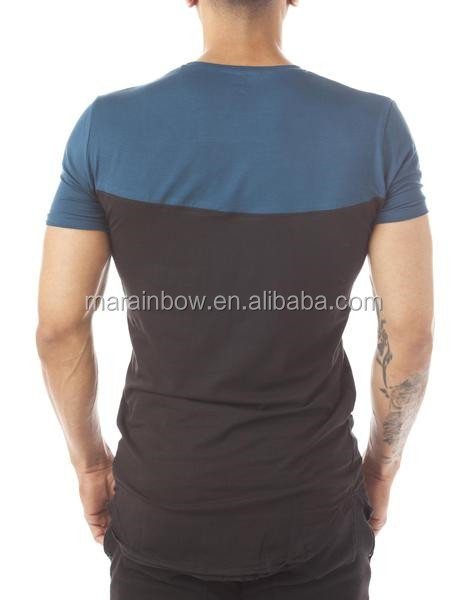 Fashion Design Panelled Crewneck T Shirt Mens Longline Curved Hem T Shirt 95% Cotton 5% Spandex Elongated T Shirt