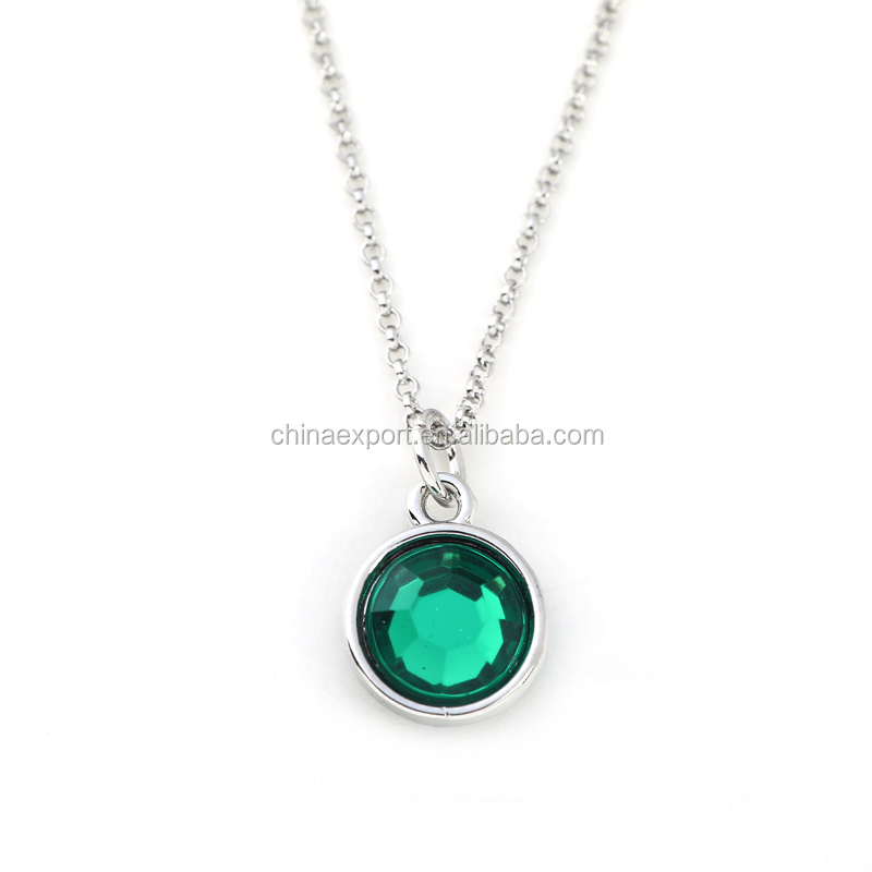 2017 Emerald Crystal Charm Silver May Birthstone Necklace For Baby Shower Gift
