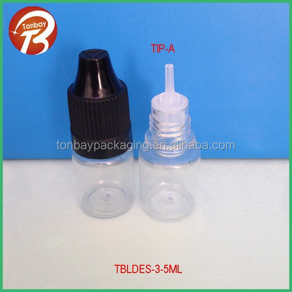 5ml PET e cigarette plastic container with three holder tips &childproof capsTBLDES-3-5ml