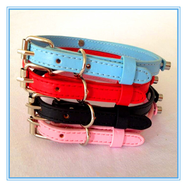 Wholesale cheap leather dog collar pet collar cat collar for 8mm letter charm