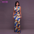 Destiny Royal-Blue Yellow Floral Beach Plunging V-Neck Maxi Dress L51428