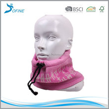 Customize winter multi-purpose knit tubular neck warmer circle Jacquard knitted neckwarmer with coral fleece lining