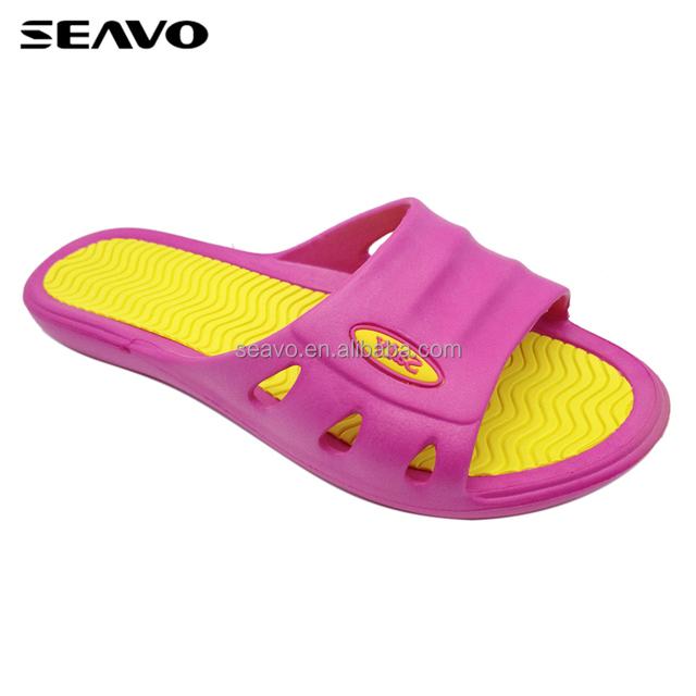 SEAVO simple style rubber patch logo antislip outsole women peach eva slippers