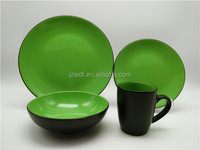 Fashion black with green 16pcs ceramic dinnerware set 2 tone color, tableware stoneware dinner set
