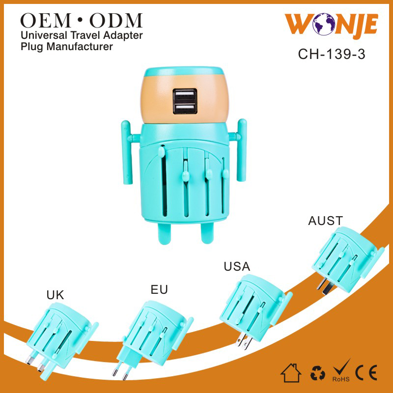 All in One Universal UK USB world universal travel adapter /adaptor