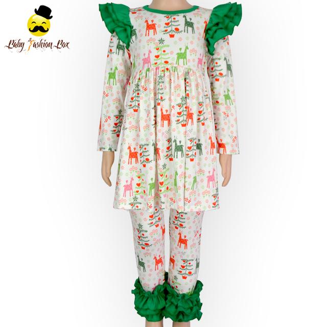 Christmas Winter Long Sleeve Ruffle Dress Tops Icing Warm Leggings Little Girls Wholesale Children's Boutique Clothing