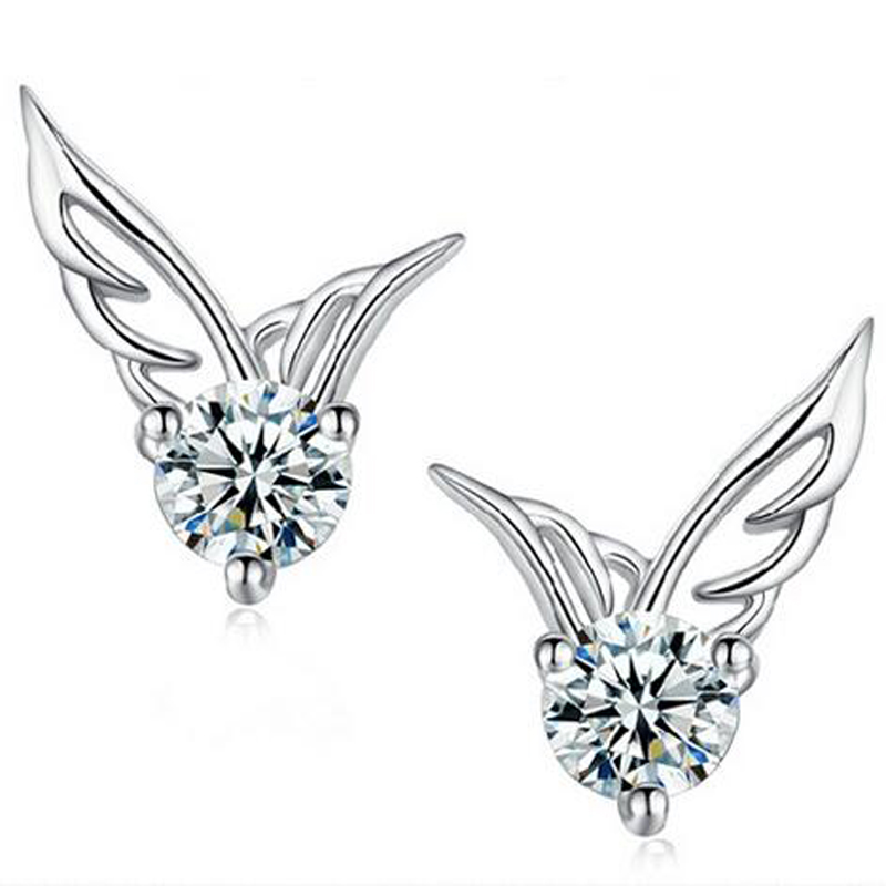 Starland Hot 925 Sterling Silver Earrings Rhinestone Crystal Angel wings Stud Earrings For Women Fashion Jewelry Wedding Gifts
