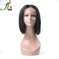 130%Density 8-16''Natural Black Brazilian Full Lace Wigs Human Hair Lace Front Wig for African American Short Straight Bob Wig