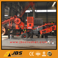 JBS wheel mounted mobile rock crusher station with15tons per hour capacity