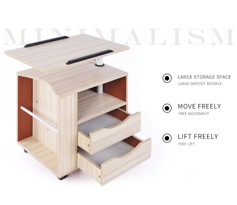 2017 Creative rotary computer table Multifunctional movable bedside cabinet